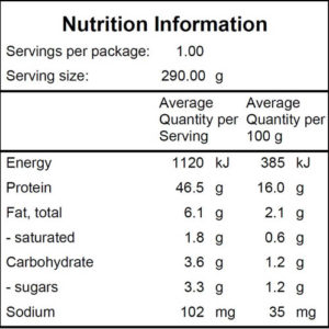 Performance Poached Chicken - Nutritional Info - Nourished For Life Ready Meals